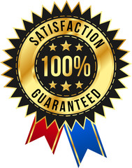 Gold Satisfaction 100% Guaranteed Seal with Red and Blue Ribbons