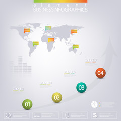 Modern 3D infographic network template with place for your text