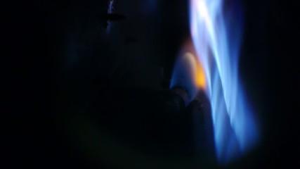 gas furnace - central heating - natural gas burner - blue flames