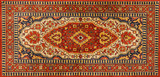 Old Persian red carpet with pattern - 78080750