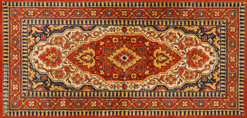 Leinwanddruck Bild Old Persian red carpet with pattern