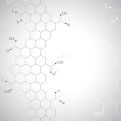 Dna molecule on gray background