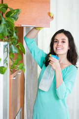 woman doing household cleaning