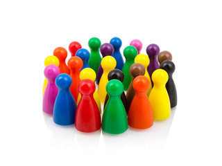 Color pawns in crowd