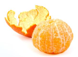 Single peeled tangerine or mandarin fruit with its skin on white