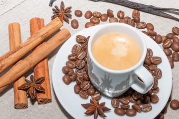 Café con espuma y canela