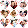 Happy loving couples portraits in collage