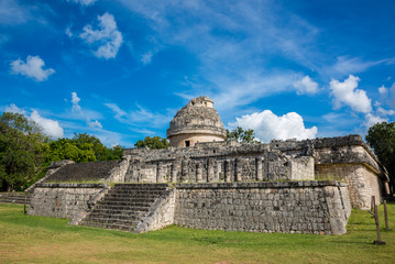 Chichen Itza Ruins Mexico Mayan culture. Traveling wonder park.