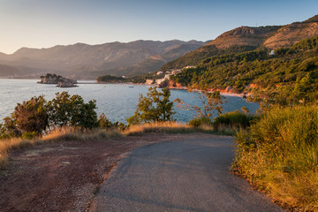 Coast of Montenegro. The road to Sv. Stefan