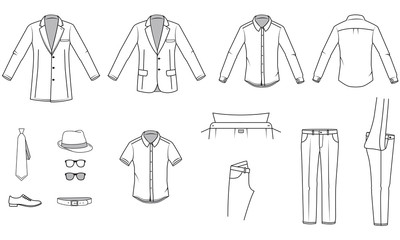 Men's clothes, Garment illustration, Office wear, vector