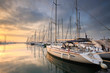 Sunset in Alimos marina in Athens, Greece. - 78082904