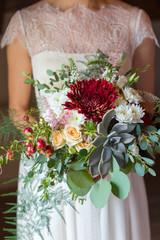bridal bouquet with succulent