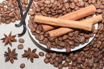 Granos de cafe con canela
