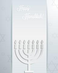Happy hanukkah card with abstract 3d menorah. Vector eps10.
