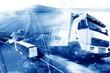 Camiones y transporte. Carreteras y mercancía entrega. almacén