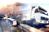 Abstract background Trucks and transport.Highway and delivering. - 78085362