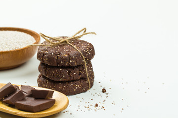 Chia seed chocolate cookies stack with ingredients
