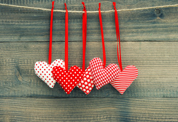 Valentines Day Decoration Red Hearts. Vintage style