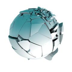 Imagen 3d conceptual.Bola rota en pedazos aislada sobre blanco