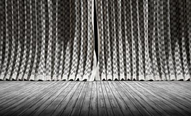 Fondo de cortinas vintage de tela y suelo de madera
