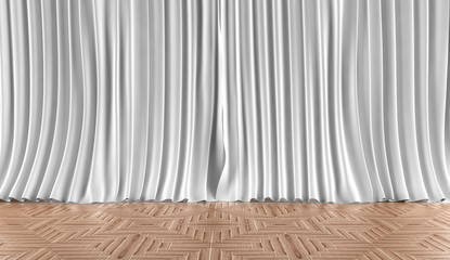 Fondo de cortinas blancas y suelo de parquet