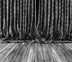 Fondo viejas cortinas de textura vintage. Suelo de madera.