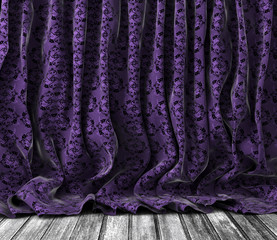 Fondo cortinas de flores vintage en púrpura y Suelo de madera.