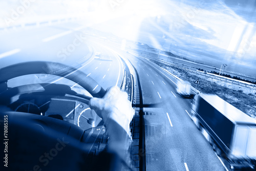Fototapeta Camiones y transporte. Carreteras y mercancía entrega. almacén