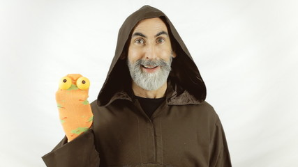 Friar sock puppets lighthearted