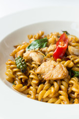 stir fried spicy fusilli with pork