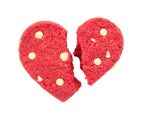 Cracked red heart cookie