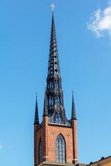 church tower against