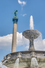 Fountain at Castle Square in Stuttgart, Germany