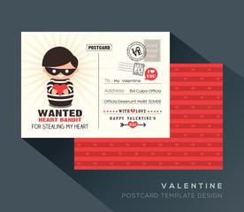 Cute Red Valentine postcard card design
