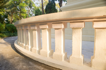 sunlight on the beautiful stone fence