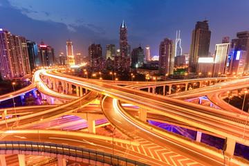 bright lights overpass at night