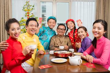 Happy big Vietnamese family