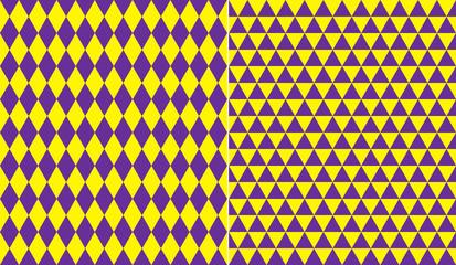Triangle Mardi Gras seamless patterns.