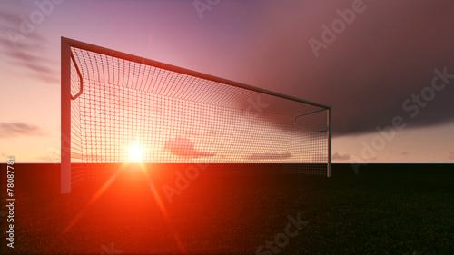 Fotobehang Zonsondergang Soccer goal on the football field