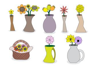 beautiful cartoon flower vases