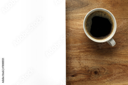 Staande foto Cafe Cup of coffee on desk with white space