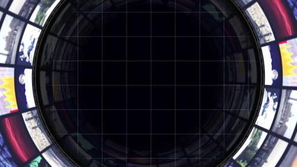 Monitors Tunnel Background, Still Camera, Loop
