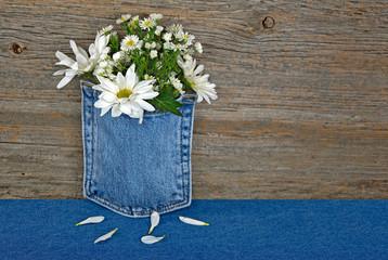 daisy bouquet in blue jean pocket