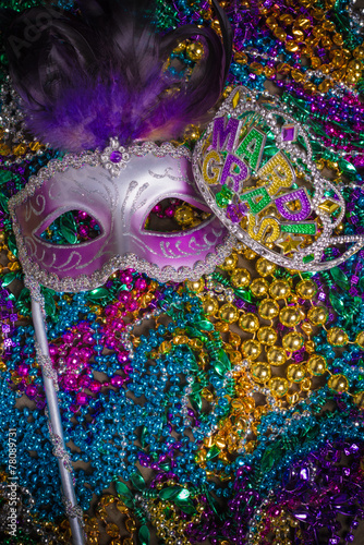 Fototapeta Mardi Gras Mask on dark Background