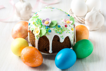 Easter cake with glace icing and decoration