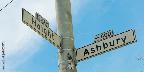 Aluminium San Francisco Haight - Ashbury street sign in San Francisco