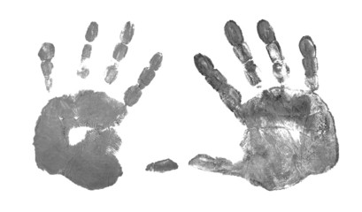 grey hand prints isolated on white