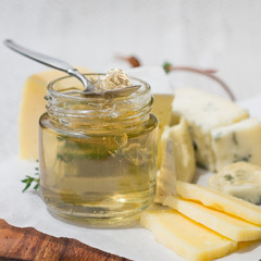 White Wine Jelly in a Jar  with a Selection of Cheeses