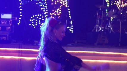 female dancers dancing in spanish costume at indian wedding part