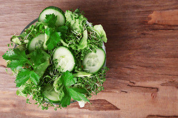 Cress salad with sliced cucumber and parsley in glass bowl